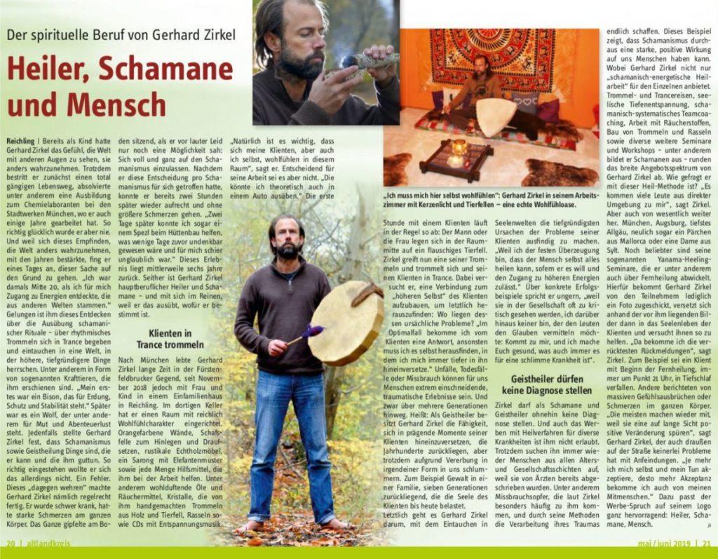 Artikel über Gerhard Zirkel, Heiler, Schamane, Mensche im Magazin Altlandkreis Mai Juni 2019